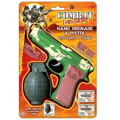 Combat Mission Lights & Sound Pistol and Grenade on Blister Pack #TY3879