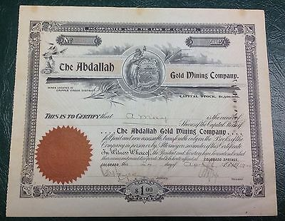 Abdallah Gold Mining Company Stock Certificate 1900 {DO680}