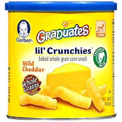 Gerber Baby Graduates Lil' Crunchies Mild Cheddar 1.48Ounce Canisters Pack of 6