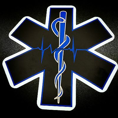 Star of Life Black & Blue Rod of Asclepius - Sticker