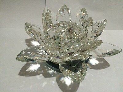 Extra Large Clear  Crystal Lotus Flower Ornament With Giftbox  Crystocraft Home