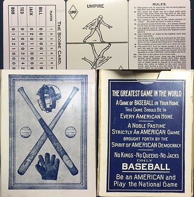 Antique Baseball Playing Cards Parlor Game 1917 T.Norpoth NEAR MINT 55/55 & Box
