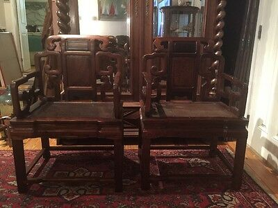 Antique Chinese Hand Carved Elm Wood Chairs Certificate Of Authenticity