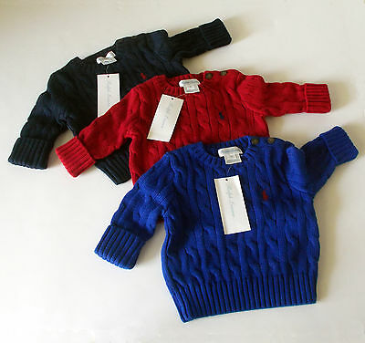 NEW w TAGS POLO Ralph Lauren INFANT 3M Baby Boy CABLE KNIT SWEATER Red Blue Navy