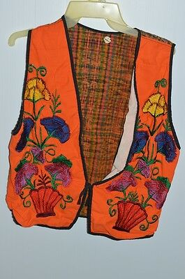 Vintage Handmade Vest Orange Floral Embroidered Size L/XL
