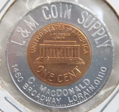 1963-D L & M Coin Supply C. MacDonald Lorain Ohio OH Encased Cent Penny