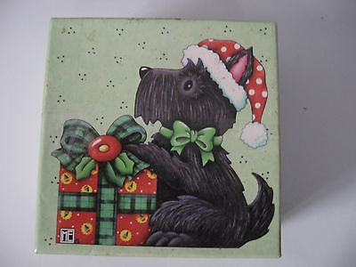 NEW old stock Mary Engelbreit Scottie Dog Christmas mini plates original box 4