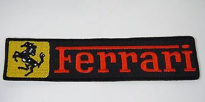 "FERRARI Iron-On Embroidered Automotive Car Patch 4.5"" x 1"" Strip"