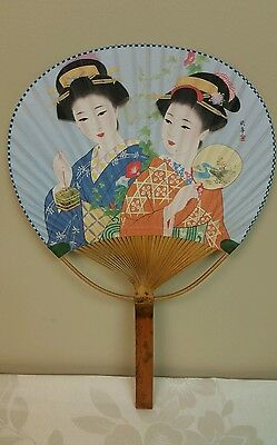 Vintage Japanese Geisha Girls Paper Fan With Bamboo Wood Handle