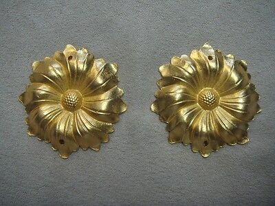 Flower Rosette Round Ormolu Pair Accents Home Decor