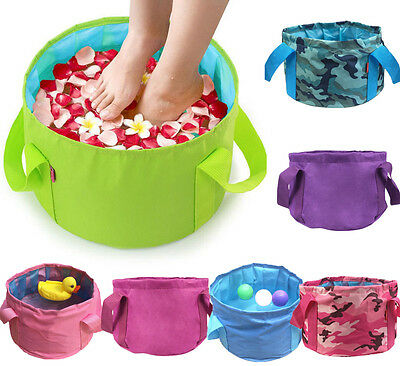 15L Camping Hiking Folding Wash Basin Bucket Travel Water Storage Bag Pot 6color