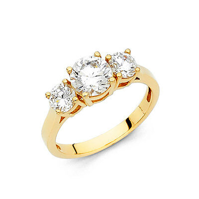 14K Solid Yellow Gold Cubic Zirconia Round Cut Wedding Engagement Ring