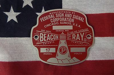 """NEW Federal Sign and Signal Early Model 17 Beacon Ray 12 Volt Replacement Badge"