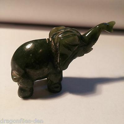 Green Jade Nephrite Hand Carved Sculpture Figurine - Elephant Trunk Up