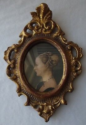 Antique Italian Gilt Florentine Tole Rococo Scroll Framed Print Under Glass