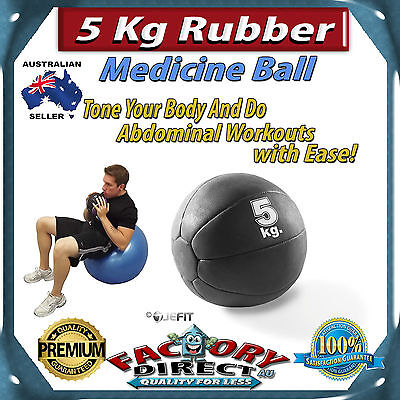 Professional 5Kg Rubber Medicine Ball Fitness Muscle Abdominal Tone Workout!