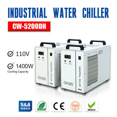 USA S&A 110V Industrial Water Chiller CW-5200DH for One 130W-150W CO2 Laser Tube