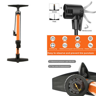 New High Pressure Bicycle Bike Alloy Floor Air Pump Dual Valve Gauge AU POST