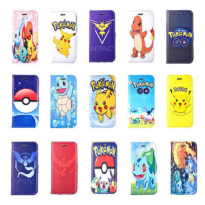 iPhone 7 6s Plus 5s Cute Pikachu Pokemon PU Leather Wallet Card Stand Case Cover