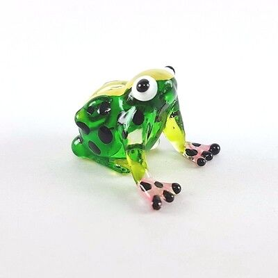 new crystal frog animals hand blown clear glass art dollhouse miniature figurine