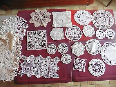 Lot De Napperons Au Crochet Dentelle Broderie Main Incrustation Coiffe Folklore
