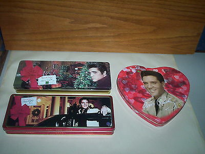 3 Elvis Presley Tins Lot Russell Stover : 1999 2003 Christmas & 2002 Heart Tin