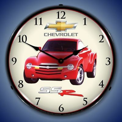 "Chevrolet Ssr 14"" Lighted Wall Clock Advertising Garage Man Cave Made In Usa New"