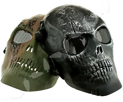 Paintball Black/Green Army Skull Skeleton WallGame Outdoor Hunting Protect Mask