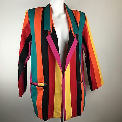 Vtg Lerner Rainbow Striped Blazer Multicolored 80s Jacket Womens Size 14 Cotton
