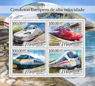 Z08 MOZ16409a MOZAMBIQUE 2016 European fast trains MNH Mint