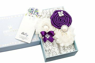 Unibuy Wedding Lace Garter Set Purple Vintage inspired With Pearl Gift Box