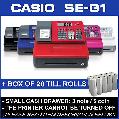 Casio Se-G1 New Electronic Small Drawer Cash Register + 20 Free Till Rolls