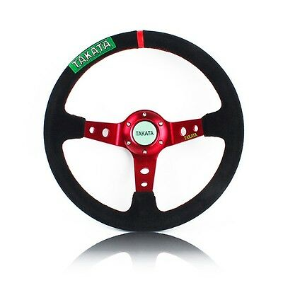 "14"" TAKATA Deep Dished Red Spoke Black Suede Sport Steering Wheel w Horn Button"