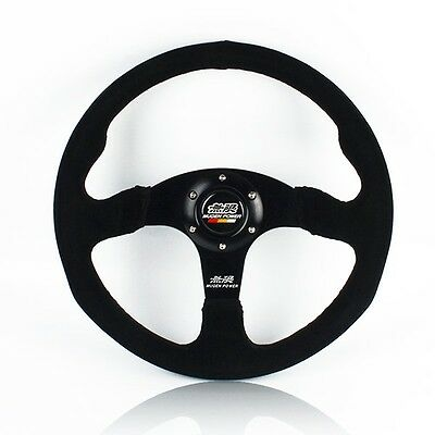 "14"" MUGEN Style Dished White Stitching Suede Sport Steering Wheel w Horn Button"