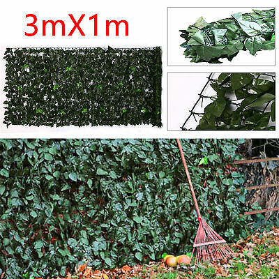 Faux Ivy Leaf Hedge Garden Fence Panels On Roll Privacy Screening 1m x 3m