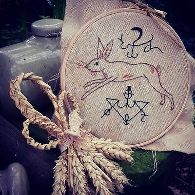 Primitive Folk Art Hand Stitched Hare/alchemy Signs Old Witchcraft/the Vvitch