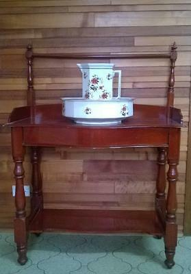 Antique Victorian wash stand with water pitcher and basin