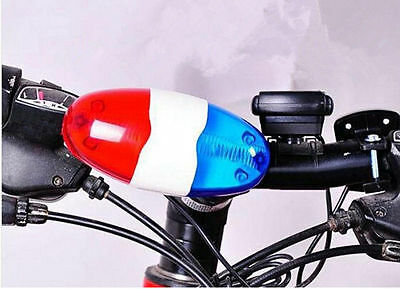 Bike Trumpet Horn Loud Siren Cycling 6 LED Light 4 Sounds Bell Police Car New