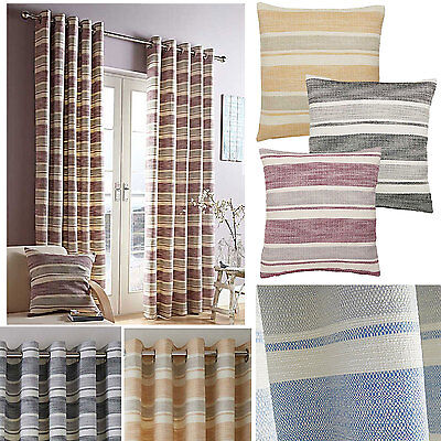 Denver Woven Textured Horizontal Stripe Lined Ring Top Curtains 4 Colours SMART