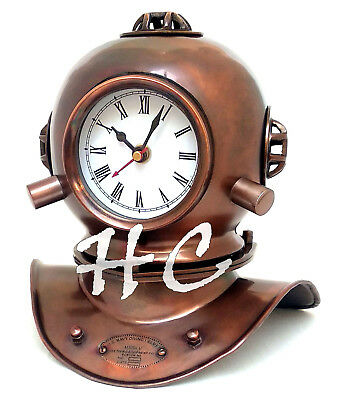 Vintage Antique Brass Divers Diving Helmet Clock Collectible Desktop Decorative