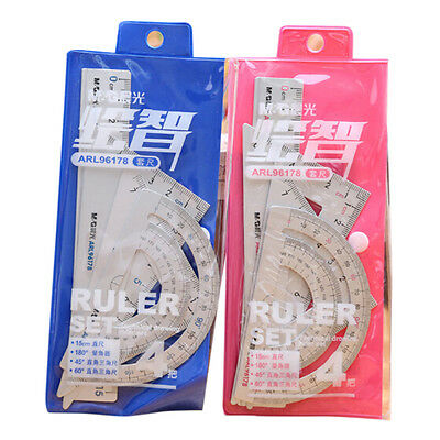 4Pcs Aluminum Alloy Square Triangle Protractor Ruler Tool Drawing School Supply