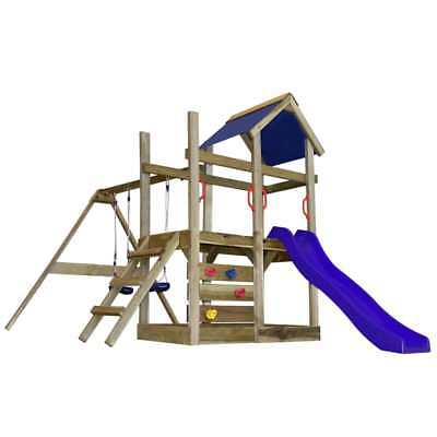Wooden Playhouse Set with Ladder Slide Swing Child Kid Outdoor Garden Playground