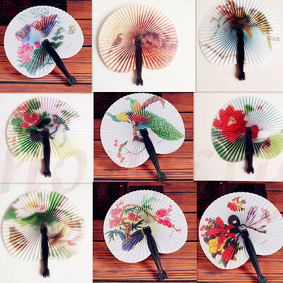 Chinese Paper Folding Hand Fan Oriental Floral Fancy Party Wedding Favors Gifts
