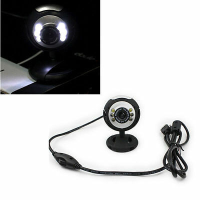 HOT Microphone For PC Laptop Computer Video 6 LED Camera Webcam USB  With Mic