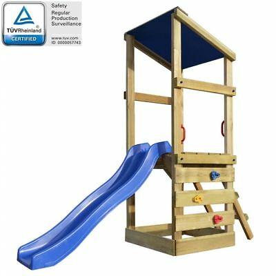 Wooden Playhouse Set with Ladder and Slide Child Kid Outdoor Garden Playground