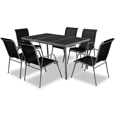 7 Piece Outdoor Dining Table and 6 Chairs Furniture Set Glass Top Black Patio