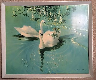 """Vernon Ward Picture  FAB Vintage """"Harmony of Spring"""" Swans in Wooden Frame"""