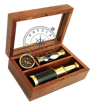 Nautical 3 Pieces Gift Set Brass Compass Sand Timer/Hourglass & Telescope In Box