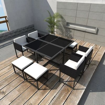 21 Piece Outdoor Dining Set Garden Table and Chairs Furniture Black Poly Rattan
