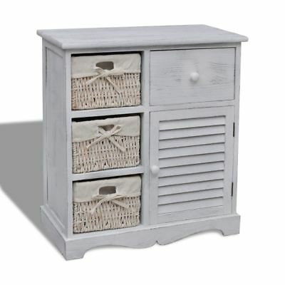 New Modern Wooden Storage Cabinet 3 Weaving Baskets Drawers White High Quality
